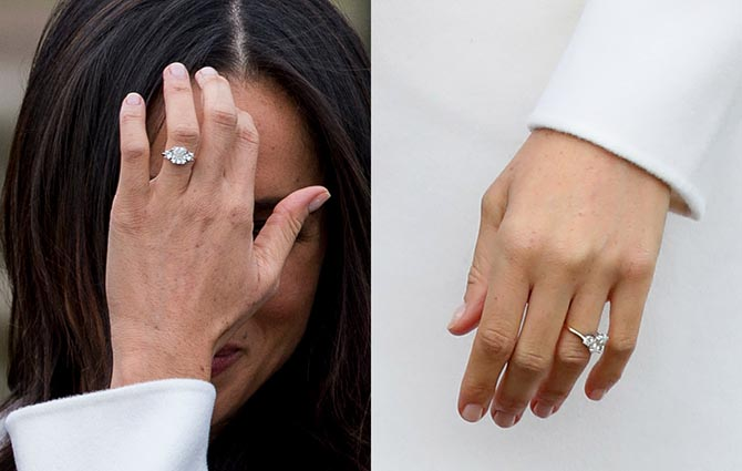 Two views of Meghan's first engagement ring from Harry at the official photocall to announce their engagement on November 27, 2017. Photo Getty