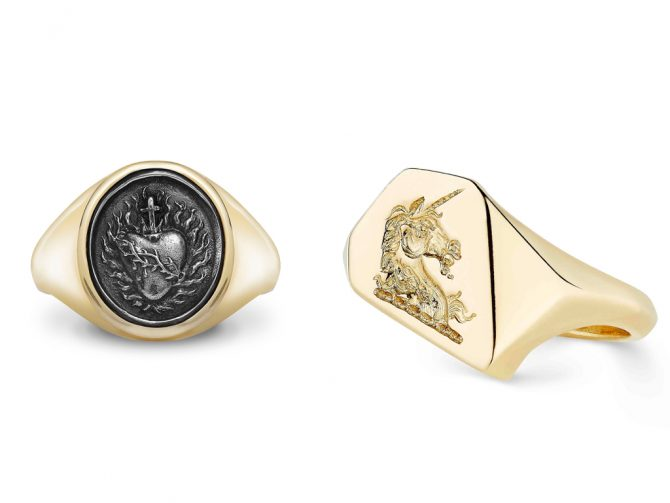 Rebus rings featuring a Sacred Heart and Unicorn. Photo courtesy