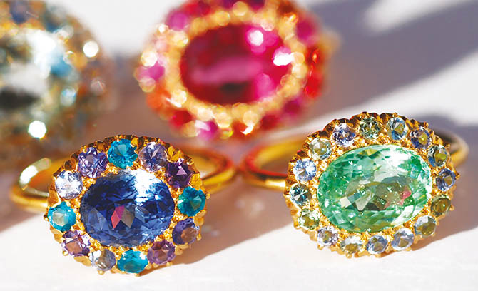 The Princess D rings by Marie-Hélène de Taillac are set with colorful gems. Photo courtesy