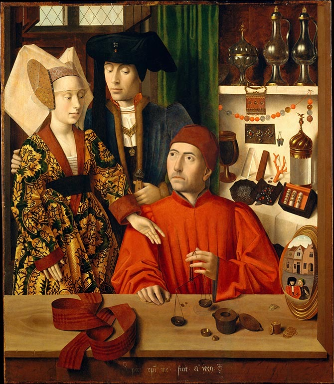 From 'Looking At Jewelry,' 'A Goldsmith in His Shop' painted by Petrus Christus in 1449. Photo Metropolitan Museum of Art