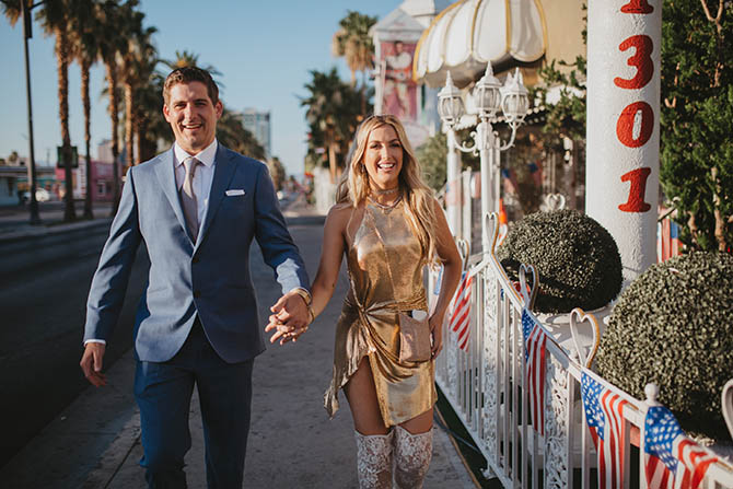 Ashley Davis and James Williams on their wedding day in Vegas.