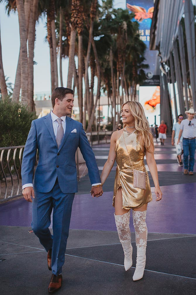 Ashley Davis and her husband James Williams on their wedding day in Las Vegas. Photo Indwell Weddings