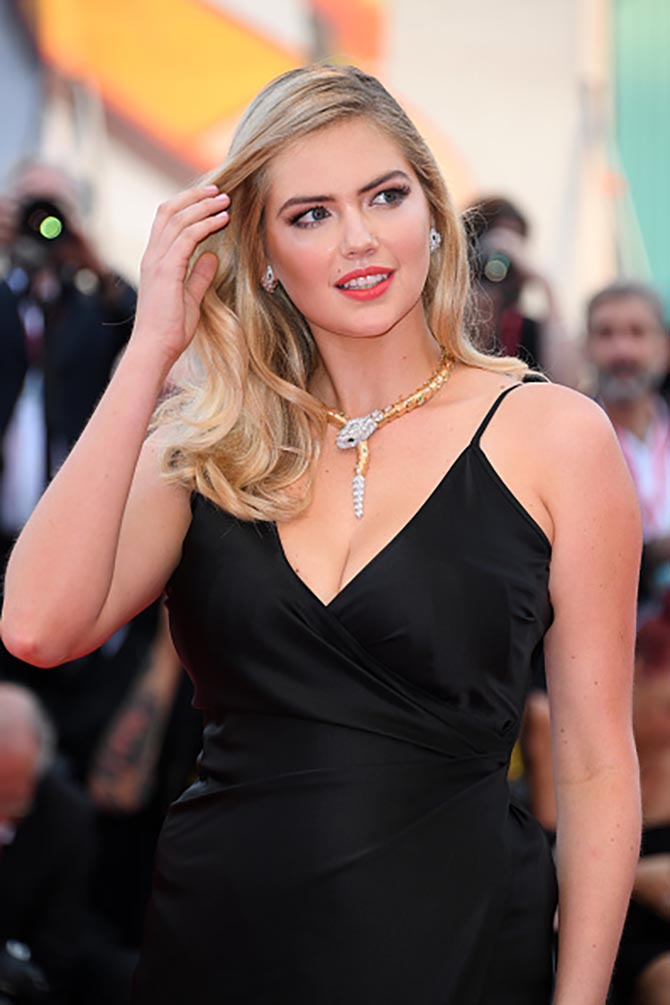 "Kate Upton sported a Bvlgari Serpenti necklace as she walked the red carpet ahead of the ""Marriage Story"" screening during"