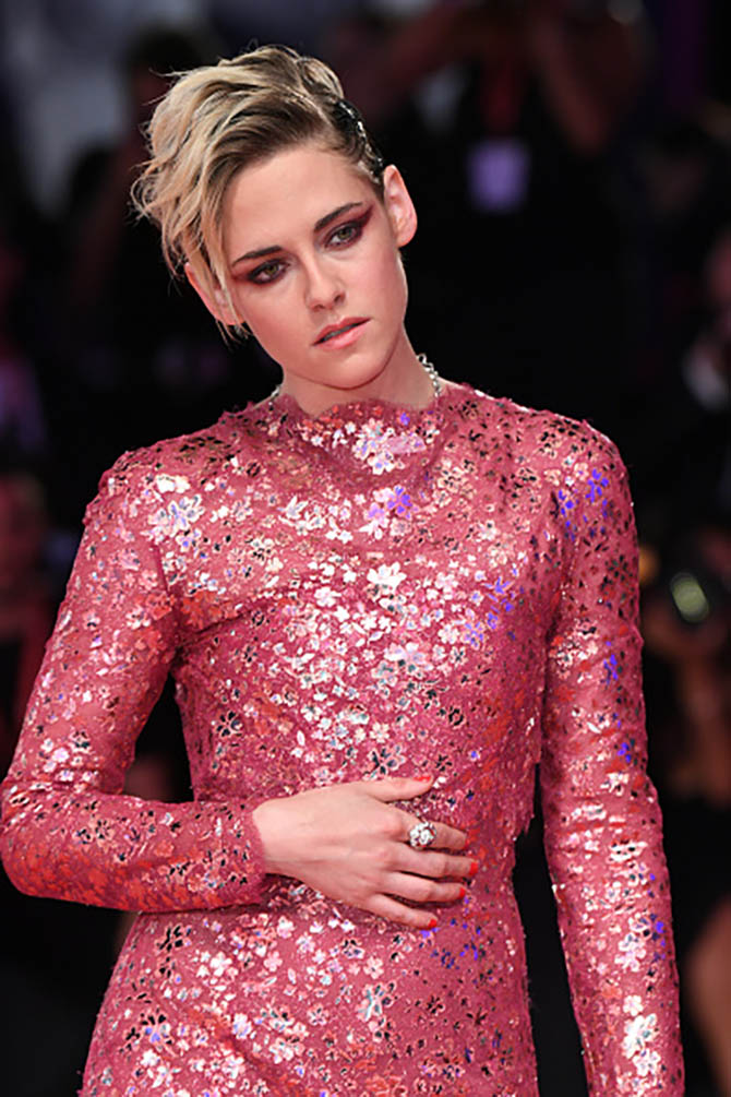 "Kristen Stewart wore a diamond cluster ring when she walked the red carpet ahead of the ""Seberg"" screening."