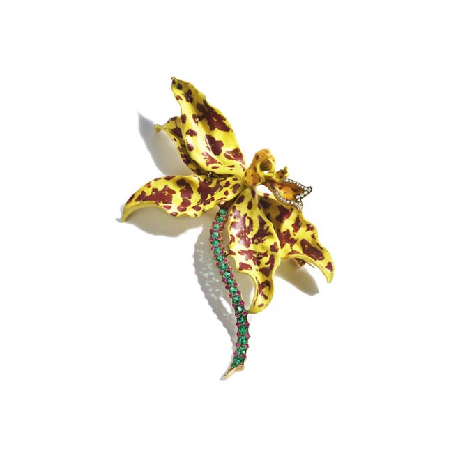 Enamel and gem-set Tiger Orchid brooch made by Tiffany & Co. around 1900. Photo courtesy
