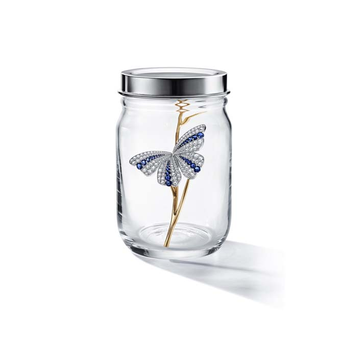 Diamond and sapphire Butterfly brooch on a gold twig in a jar made in 2019. Photo courtesy