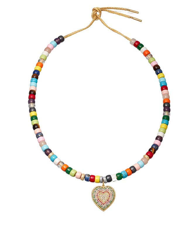 CAROLINA BUCCI multi-stone bead necklace with diamond and sapphire pavé pendant, $12,380