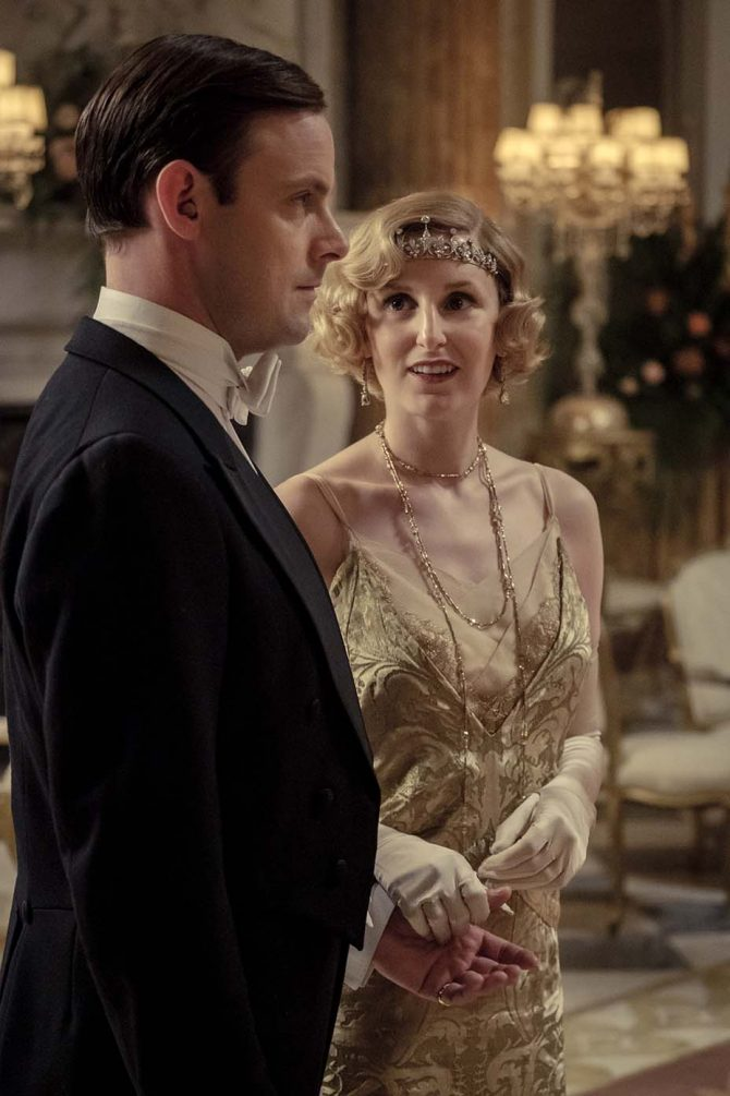 Lady Edith wearing a Victorian diamond foliage tiara from Bentley and Skinner among other jewels in the 'Downton Abbey' movie. Photo Focus Features