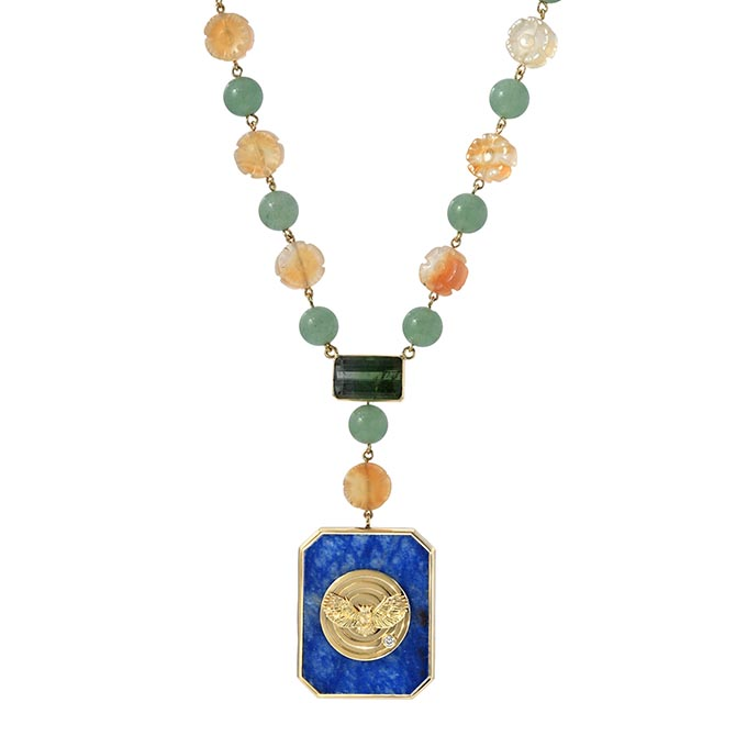 RETROUVAI one-of-a-kind aventurine and agate bead necklace with tourmaline, mother-of-pearl, and dumortierite, $8,995
