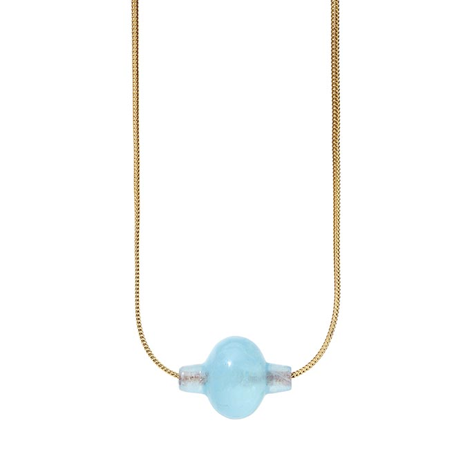 TENTHOUSANDTHINGS aquamarine trade bead on 18k gold chain, $2,445