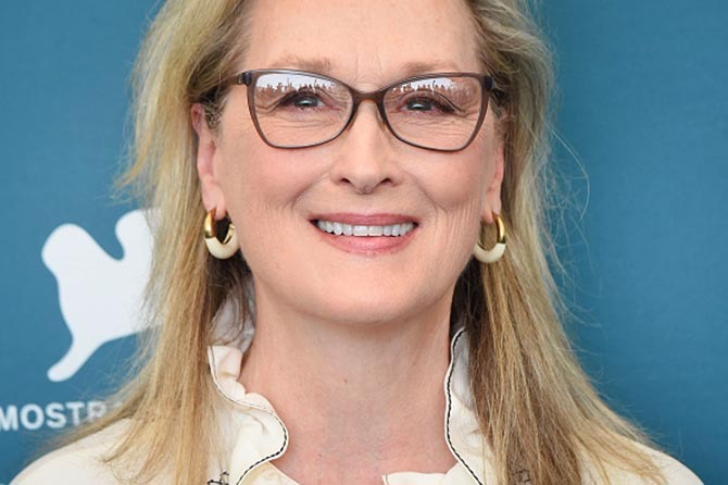 Meryl Streep wore hoop earrings from Dinosaur Designs at The Laundromat.