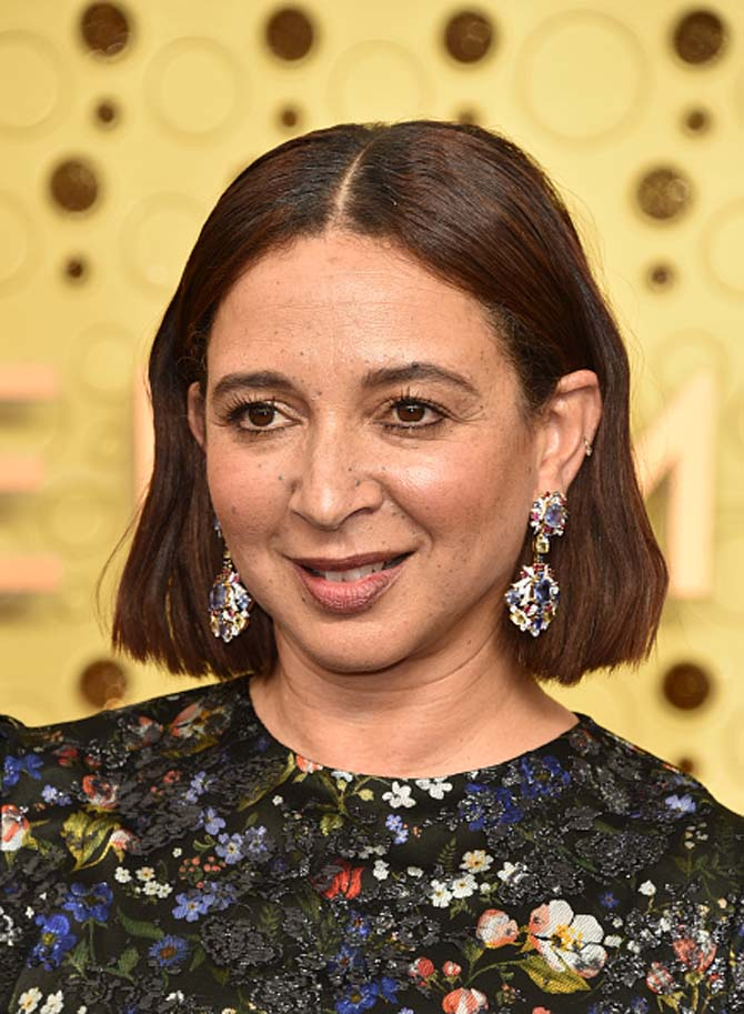 Maya Rudolph in pendant earrings.