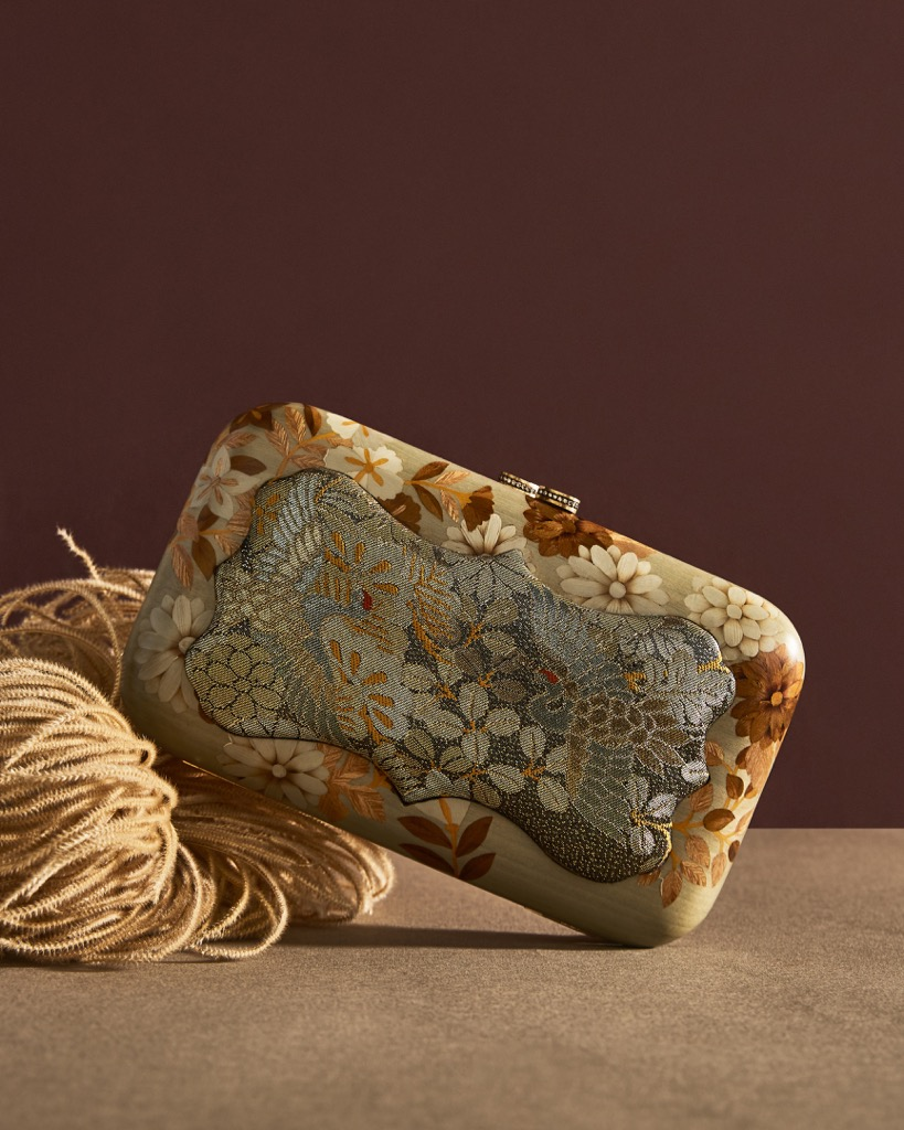 A Silvia Furmanovich marquetry clutch with an inset of vintage fabric. Photo courtesy