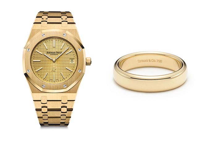 An Audemars Piguet watch and Tiffany wedding band in the exact style Justin Bieber wore on his wedding day. Photo courtesy