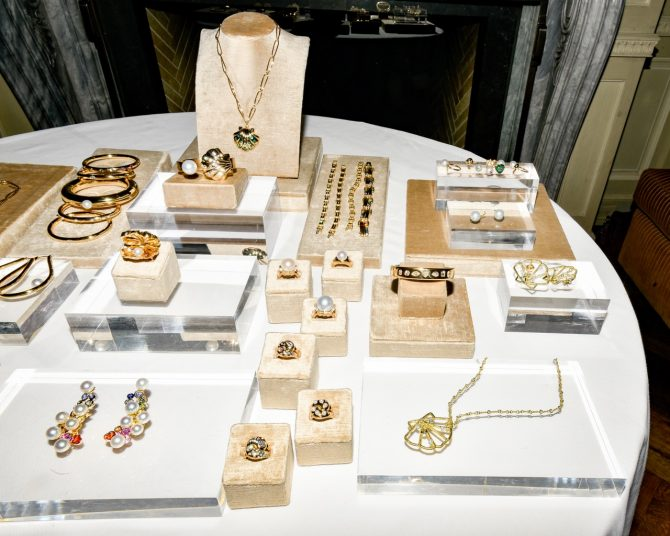 Some of the jewels in Brent Neale's Splash collection on display during her dinner part for the press at Majorelle. Photo BPA
