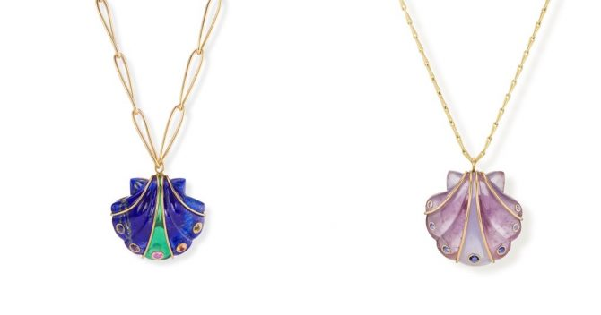 Two of Brent Neale's seashell pendants from her Splash collection. Photo BPA
