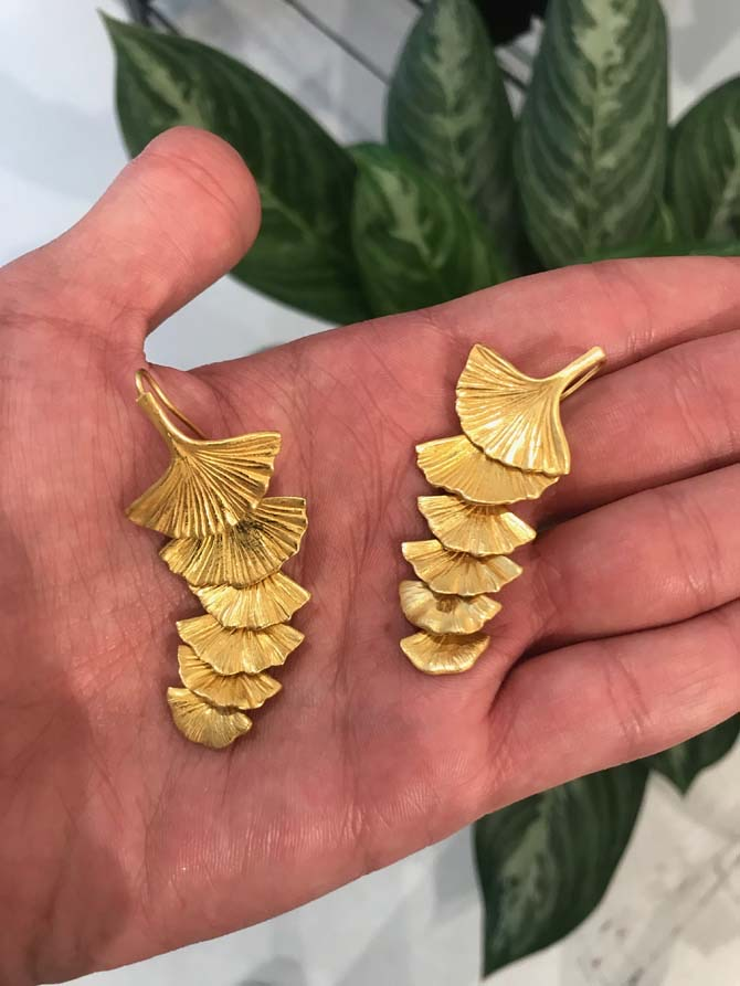Gold Ginko Leaf Earrings From Pat Sailing Collection Photo Kareem Rashed