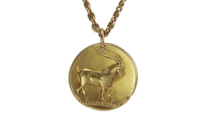 A 1970s Van Cleef & Arpels 18k Capricorn pendant from Mahnaz Collection Photo courtesy