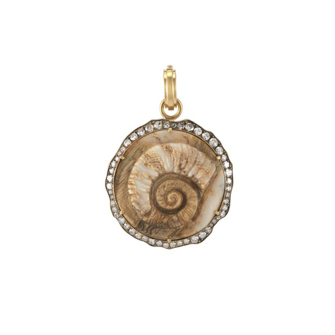 SYLVA & CIE Aries pendant in fossilized Jurassic coral with diamonds, $11,875
