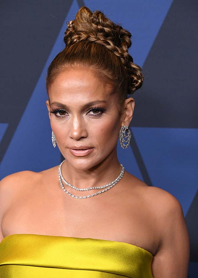 Jennifer Lopez wore Harry Winston diaond earrings and chokers at the Academy Of Motion Picture Arts And Sciences' 11th Annual Governors Awards