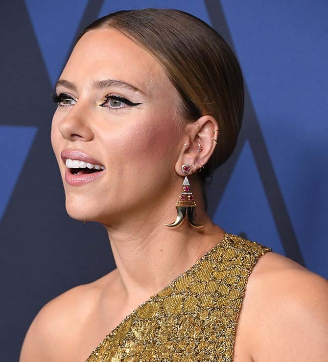Scarlett Johansson wearing Hanut Singh earrings at the Academy Of Motion Picture Arts And Sciences' 11th Annual Governors Awards