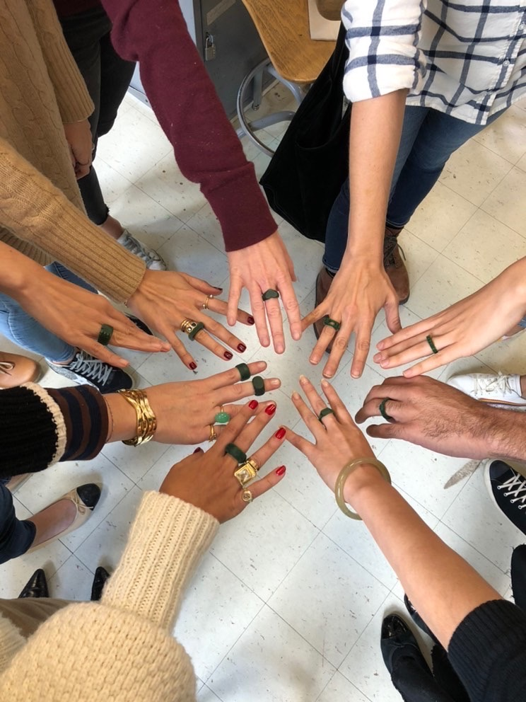 Gem X members showing their wax rings after a wax carving class at the 92nd Street Y. Photo courtesy