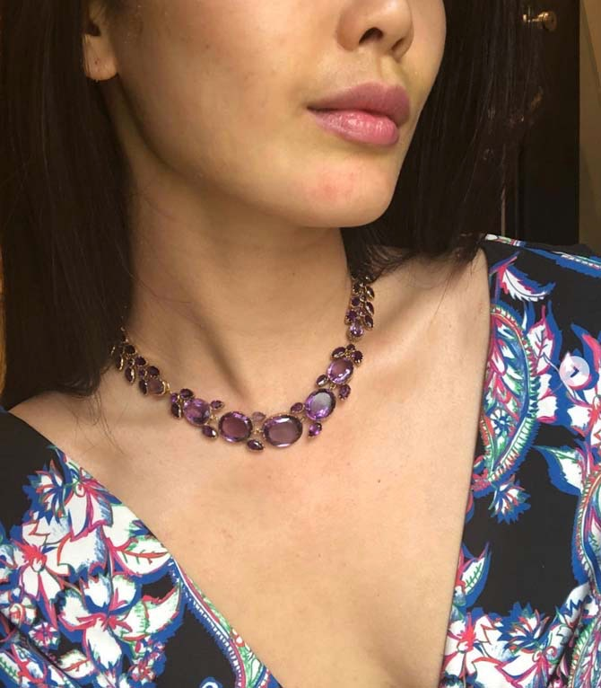 Christine Cheng wearing a Georgian amethyst necklace from Simon Teakle. Photo via Instagram @christinechengny
