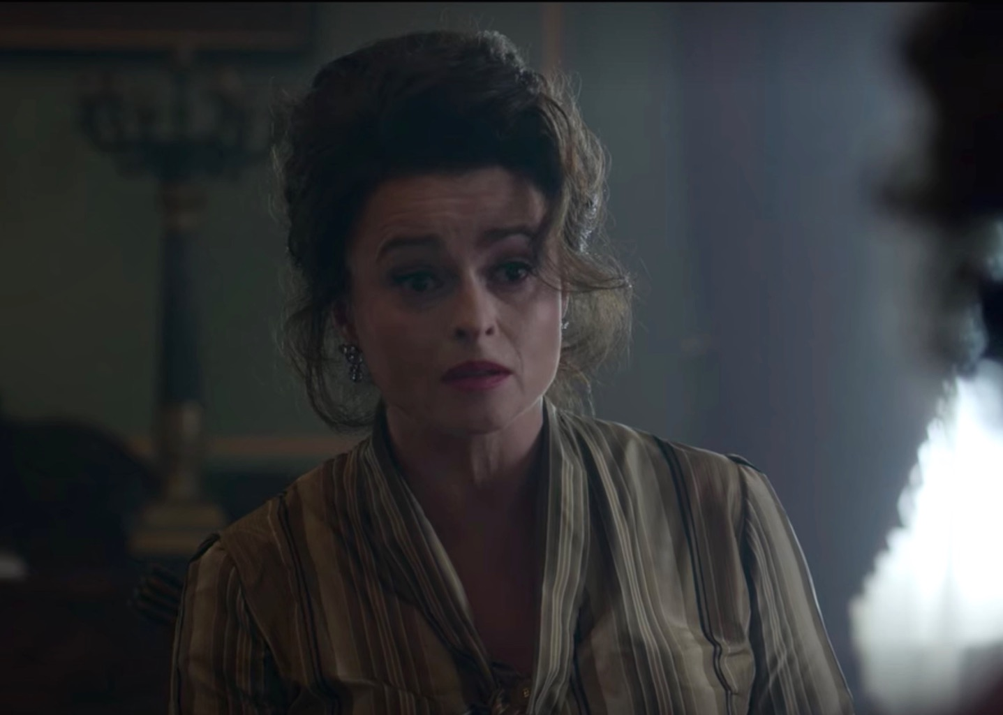 Helena Bonham Carter wearing her own Larkspur & Hawk earrings in The Crown. Photo Netflix