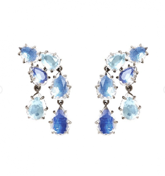 The style of Caterina Cascade earrings by Larkspur & Hawk that Helena Bonham Carter wore in The Crown. Photo courtesy