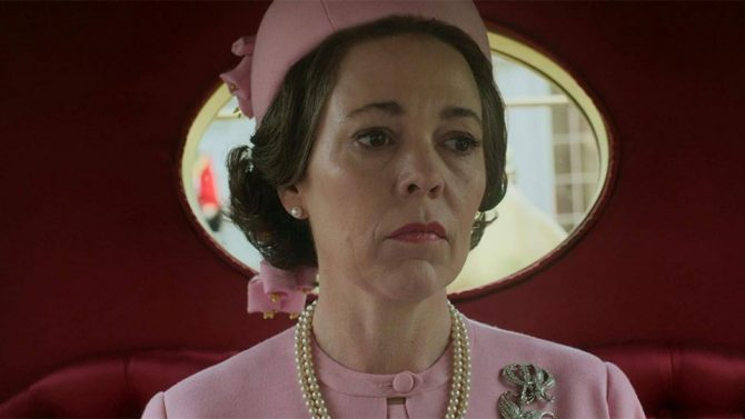 Olivia Colman as Queen Elizabeth wearing a recreation of the monarchs Flame Lily diamond brooch in Season 3 of 'The Crown.' Photo Netflix