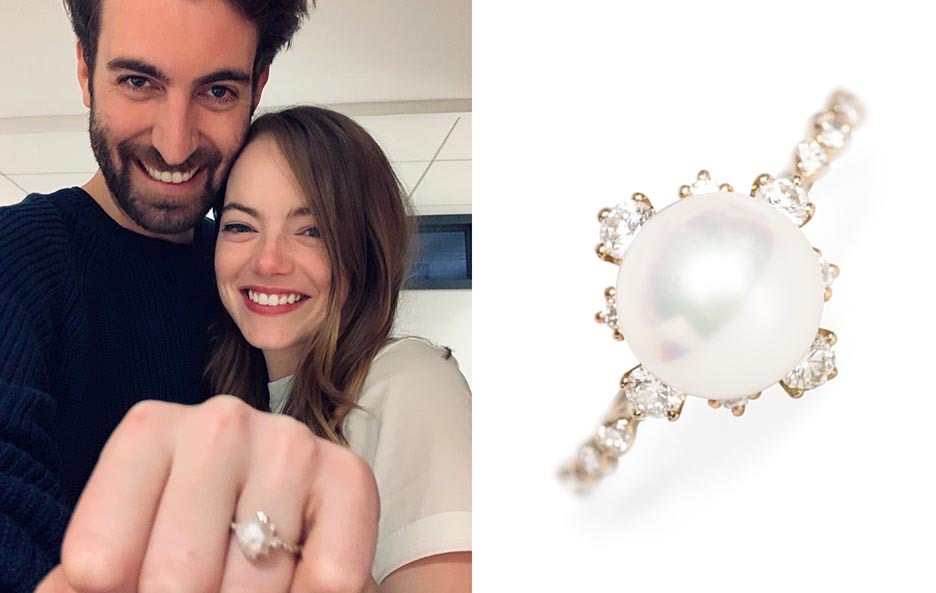 Dave McCary and Emma Stone showing her engagement ring