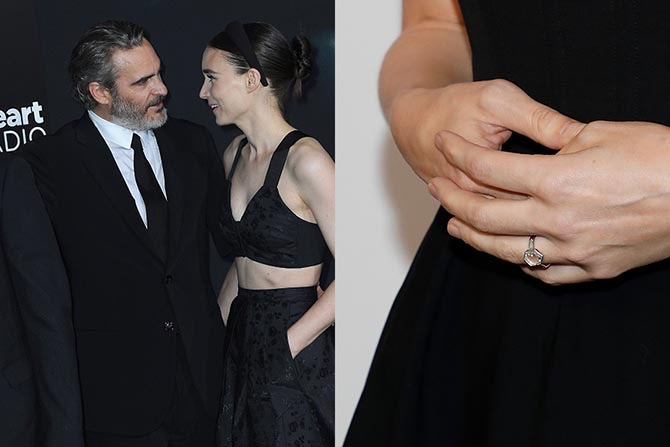 Joaquin Phoenix and Rooney Mara wearing her engagement ring