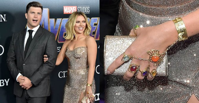 Colin Jost and Scarlett Johansson wearing her Infinity Stones bracelet by Sonia Boyajian at the World Premiere of 'Avengers: Endgame' in Los Angeles. Photo by Jeff Kravitz/FilmMagic