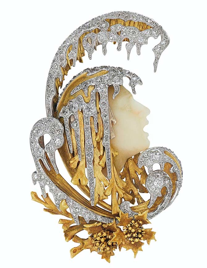 ART NOUVEAU DIAMOND AND HARDSTONE BROOCH, ATTRIBUTED TO GABRIEL FALGUIÈRES Depicting Orpheus, old, single and rose-cut diamonds, hardstone, gold, 3 ins., circa 1900, unsigned