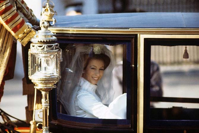 Princess Anne wearing Queen Mary's Fringe tiara on her wedding day. Photo Getty