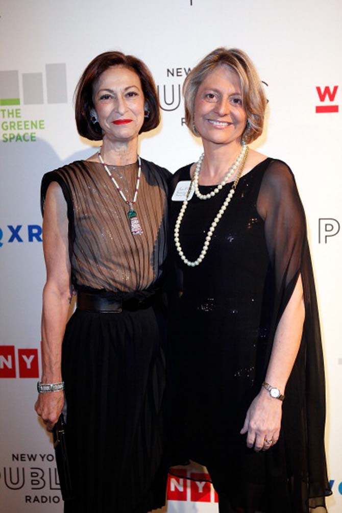 Judith Corrente wearing her elephant sautoir necklace and Oscar Heyman Art Deco bracelet among other jewels while posing with Laura Walker at the New York Public Radio gala 2011. Photo Getty