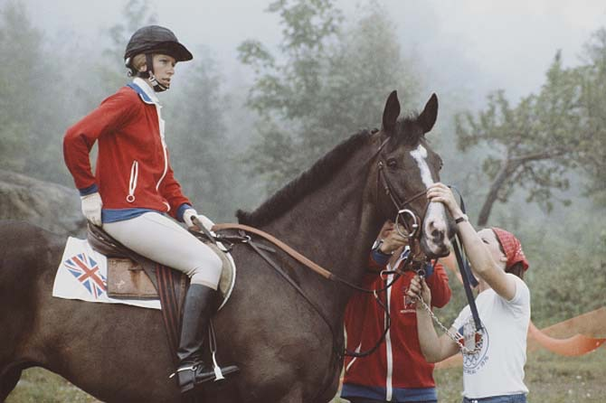 Princess Anne aboard the Queen's horse, Goodwill ,during the Mixed Three-Day Event Team Cross-Country at the XXI Olympic Summer Games on July 24, 1976.