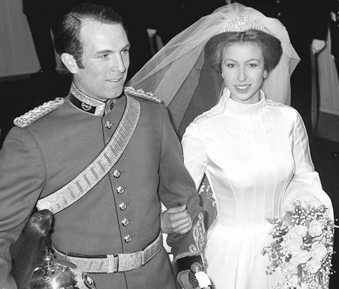 Captain Mark Phillips leaving Westminster Abbey with Princess Anne who is wearing Queen Mary's Fringe Tiara. Photo: Getty Images