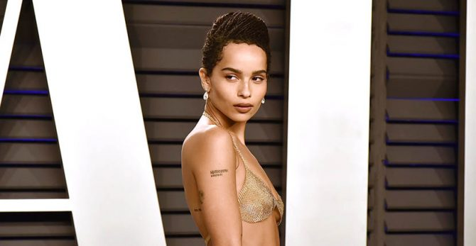 Zoe Kravitz in a gold bra by Elsa Peretti for Tiffany & Co.