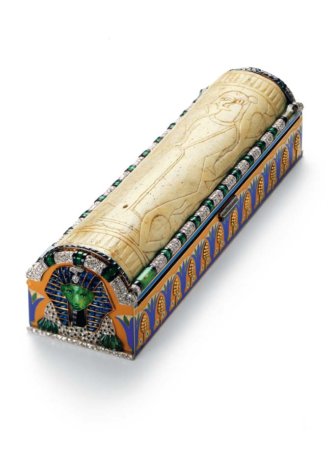 Egyptian revival sarcophagus vanity case, 1925 Photo Cartier Collection