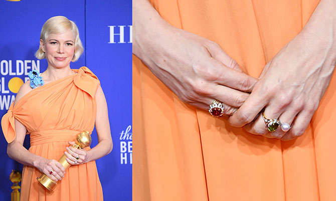 Michelle Williams Pearl engagement ring at the 2020 Golden Globes