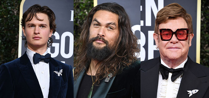 Ansel Elgot, Jason Momoa and Elton John wear brooches at the Golden Globes