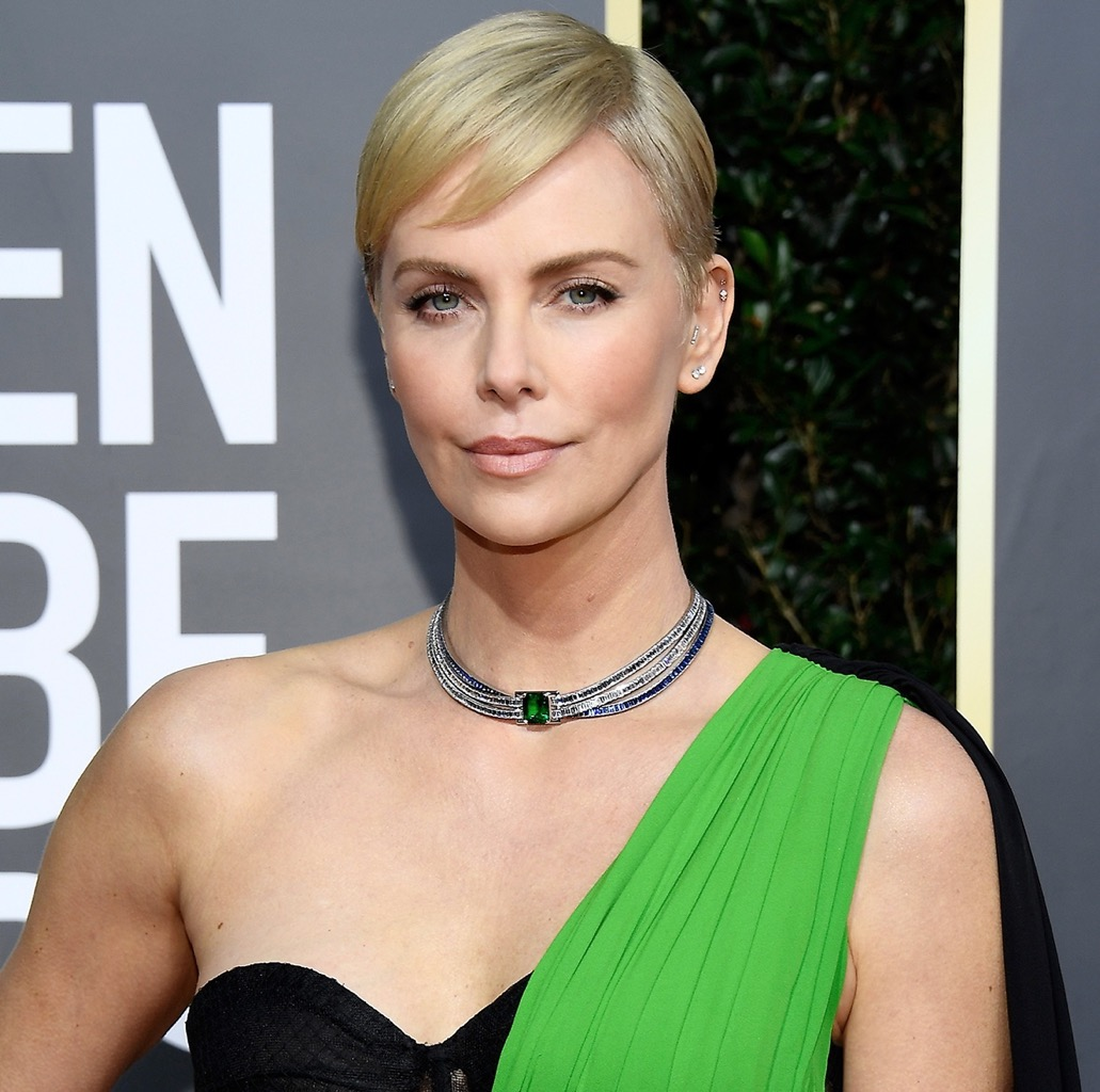 Charlize Theron in a sapphire and diamond choker by Tiffany & Co.
