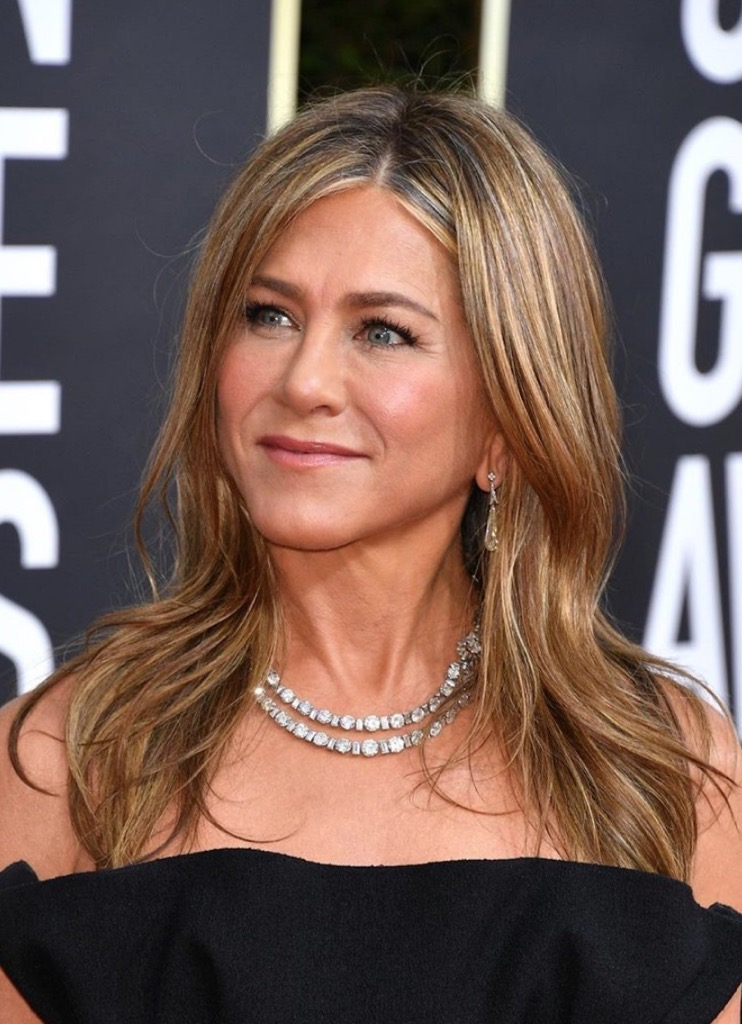 Jennifer Aniston wore a vintage Cartier necklace from Fred Leighton.