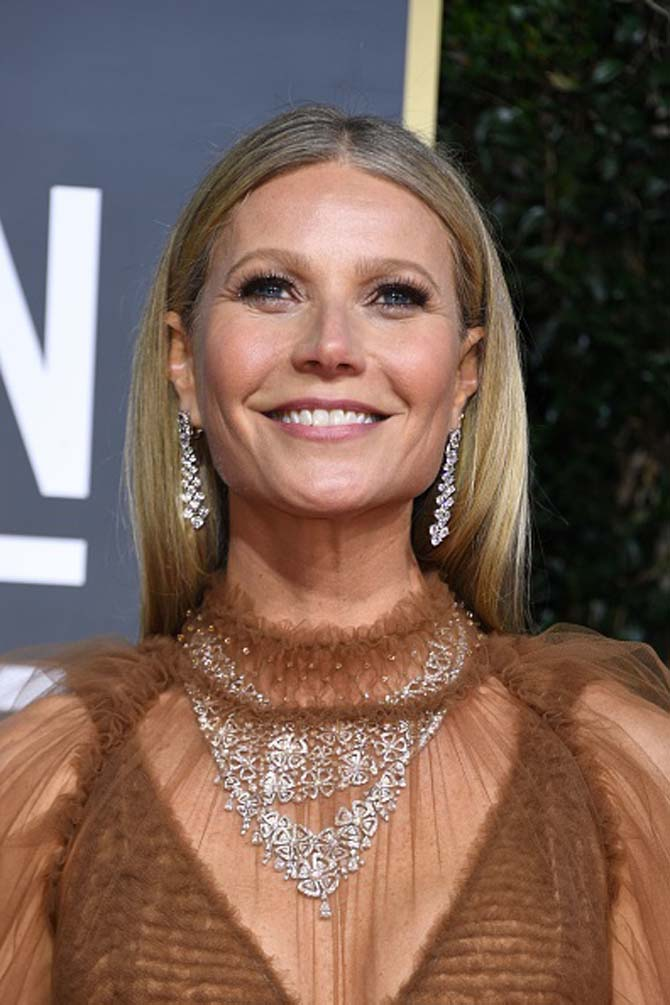 Gwyneth Paltrow wore diamond jewels by Bvlgari.