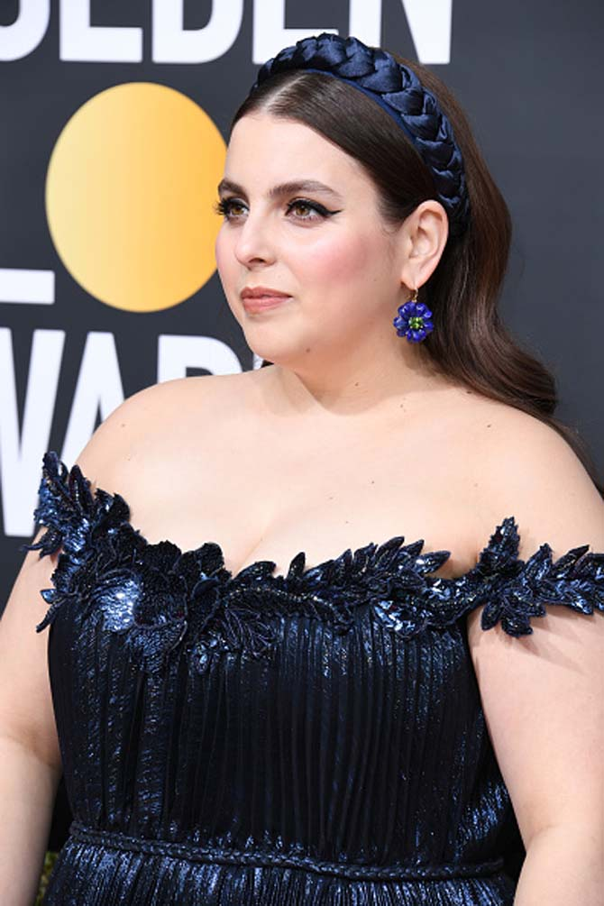 Beanie Feldstein wore earrings by Irene Neuwirth.
