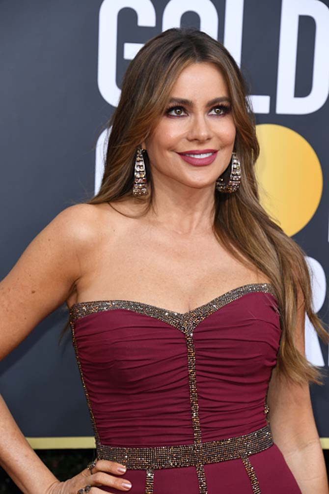 Sofía Vergara wearing diamond hoops by Lorraine Schwartz
