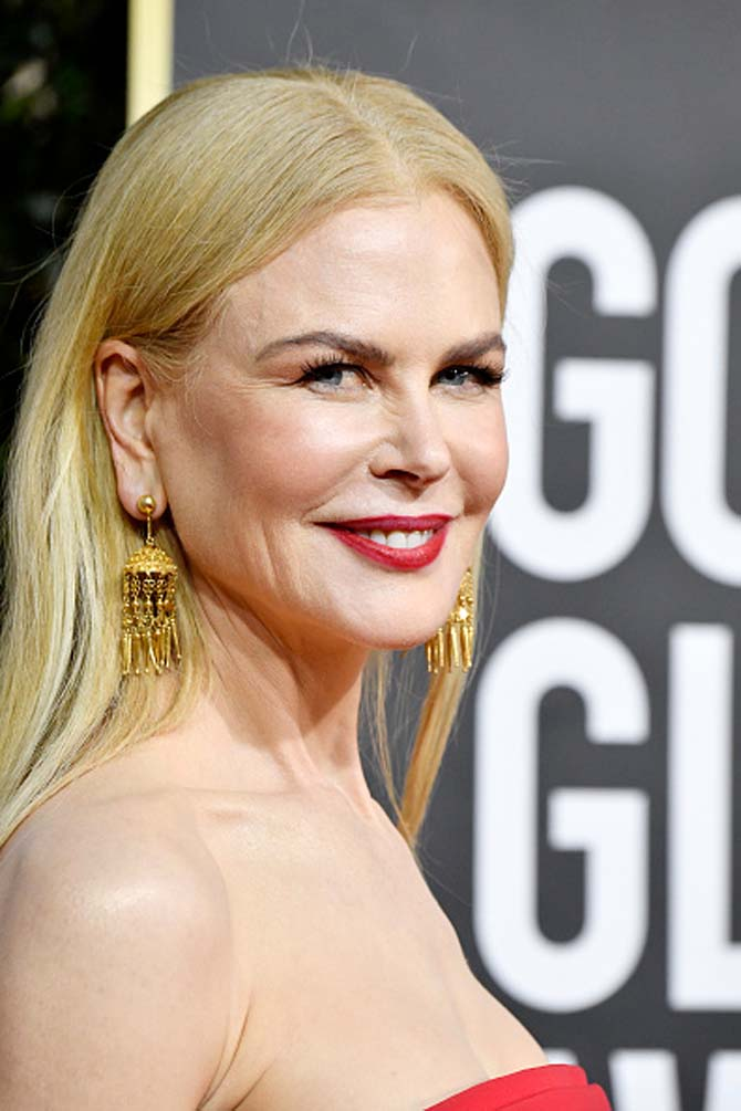 Nicole Kidman wearing gold earrings from Fred Leighton