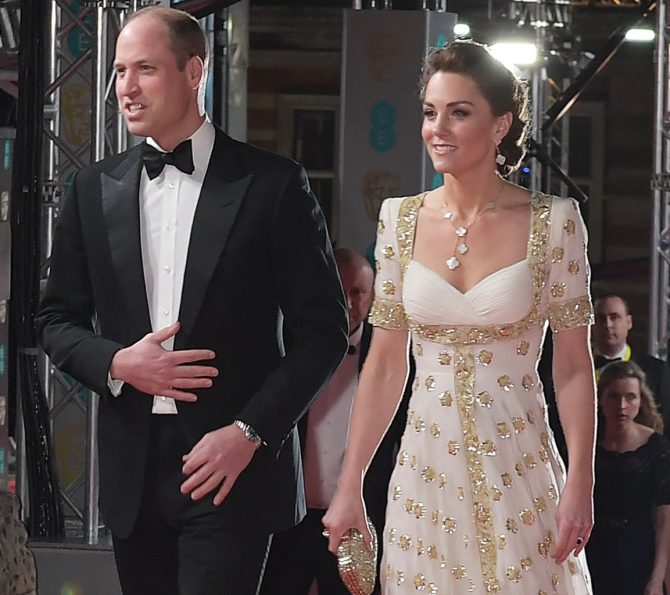 Prince William with Kate Middleton wearing Van Cleef & Arpels Magic Alhambra jewels. Photo Getty