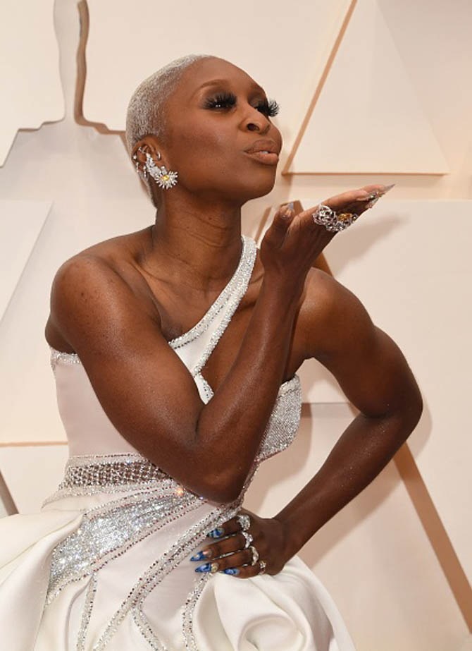 Cynthia Erivo wore diamond jewels from Piaget.